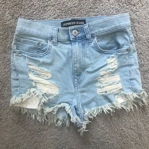Express High Waisted Distressed Denim Shorts